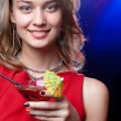 Pretty woman at the night party — Stock Photo