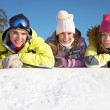 Stock Photo: Friends on winter resort