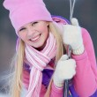 Portrait of blondy young woman with ski in winter time — Stock Photo