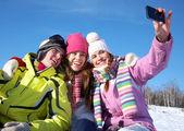 Друзья в зимнее время — Стоковое фото
