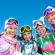 Company of friends on ski holiday — Stockfoto