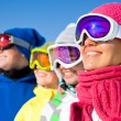 Company of friends on ski holiday — Stok fotoğraf