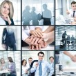 Collage of foto young people working together in business — Foto Stock