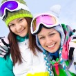 Girlfrieds in ski resort — Stock Photo