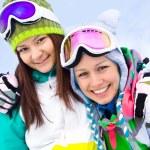 Girlfrieds in ski resort — Stock fotografie