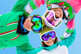Frieds on ski resort — Stock Photo