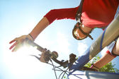 Cyclist on mountain bike — Stock Photo