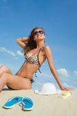 žena na pláži — Stock fotografie