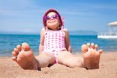 Little girl on beach — Stock Photo
