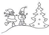 Two lovely snowmen — Foto de Stock