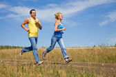 Seniors jogging — Stock Photo