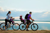 Family on cycle — Foto Stock