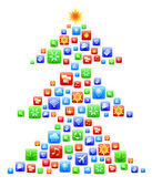 Abstract Apps New Year tree — Stock Photo