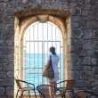 Girl looking the sea, Dubrovnik — Stock Photo