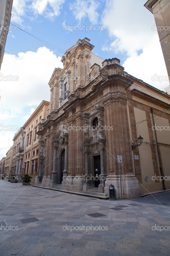 View of the Chiesa del Colleggio dei Gesuiti in Trapani  Foto de Stock   #18538255