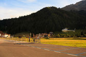Helicopter landing in Val Badia — Stock Photo