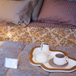 Stock Photo: Flatware on the bed