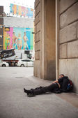 Homeless sleeping — Stock Photo