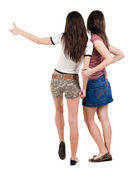 Two young women friends showing thumbs up — Stock Photo