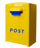 Yellow post box — Stock Photo