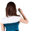 Back view of writing beautiful brunette woman — Stock Photo