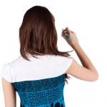 Back view of writing beautiful brunette woman — Stock Photo
