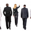 Walking group of business team. back view — Stock Photo