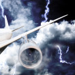Airplane crash in a storm with lightning — Stock Photo #12785331