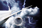 Airplane crash in a storm with lightning — Stock Photo