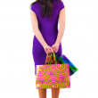 Back view of beautiful woman with shoping bags looking at wall. — Stock Photo