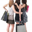 图库照片: Back view of three womwith shopping bag