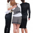 Back view of three young business woman pointing. — Stock Photo #13755041
