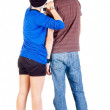 Back view of young couple interestedly looks — Stock Photo