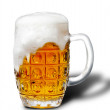 Stock Photo: Glass of light beer foam