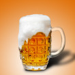 Glass of light beer foam — Stock Photo