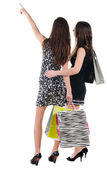 Arkadan görünüşü alışveriş çantası ile iki kadın — Stok fotoğraf