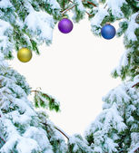Snow covered fir branches with Christmas balls — Stock Photo