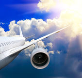 Passenger airplane in the clouds. — Stock Photo