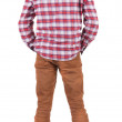 Back view of guy in a plaid shirt with hood  looking. - Stock Photo