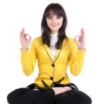 Businesswoman exercising yoga . — Stock Photo #1807478