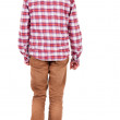 Back view of going  guy in a plaid shirt with hood. — Stock Photo