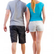 Back view of going young couple - Stock Photo