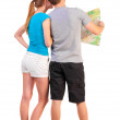 Постер, плакат: Back view journey of the young couple looking at the ma