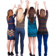 Back view of group of young women - Stock Photo