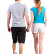 Back view of going young couple — Stock Photo