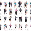 Collection back view of walking people . - Stock Photo