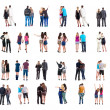 Collection Back view of walking young couple — Stock Photo