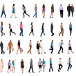Collection  back view of walking people - Stock Photo