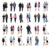 Collectie achteraanzicht van het jonge paar lopen — Stockfoto