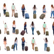 """Collection """" Back view of with suitcase """". — Stock Photo"""